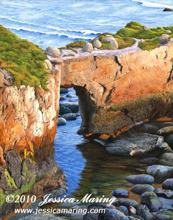 Low Tide Under the Arch, an oil painting of a natural arch in a promontory on the coast at Santa Cruz, California, by Jessica Maring