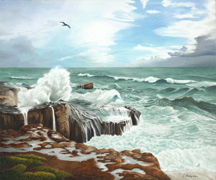 """A Break in the Storm"", an oil  painting by landscape artist Jessica Maring"
