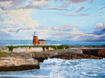 """Lighthouse Santa Cruz"", a landscape painting by Jessica Maring"