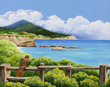 """Red-Tailed Hawk at Ano Nuevo"", a landscape painting by artist Jessica Maring"