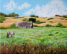 """The Old Barn"", a landscape painting by artist Jessica Maring"